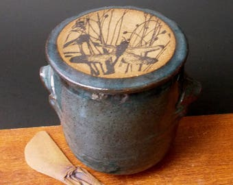 Large Stoneware French Butter Crock With Clay Paddle ~ Dragonfly In Grass Design ~ Holds 2 Sticks