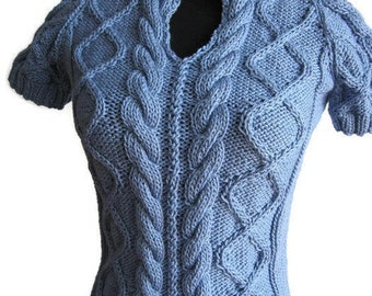Sky Blue Cable Short Sleeved Sweater in Small Vegan Yarn Knit Sweater, Womens Fashion