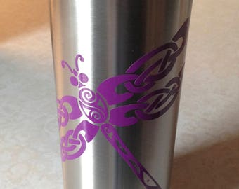 20 Ounce Double Wall Stainless Steel Insulated Straight Mug with Purple Dragonfly. Insulated tumbler. Dragonfly insulated tumbler. Customize