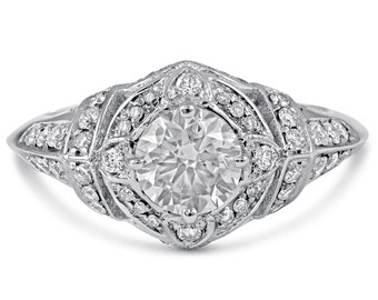1.45ctw ROUND cut ANTIQUE STYLE diamond engagement ring 14k white gold