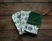 100% Cotton Flannel Burp Cloths - Set of 3 - Green/Gray Hoot Owls