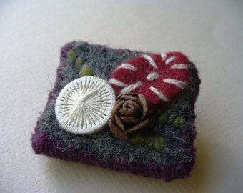 Rustic felted handmade brooch one of a kind felt art