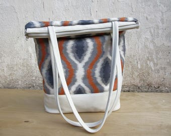 Spring totebag, ikat Leather Bag, leather canvas tote, womens  leather purse, geometric handbag, white leather bag mothers day, everyday