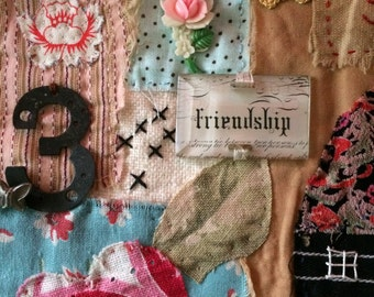 Sundays Best Mixed Fabric Applique and Embroidery Collage