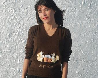 SALE Vintage 1970s Squirrel Sweater Golf Nut Novelty Print Shirt by La Mode Du Golf Sportswear M/L