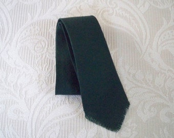 Vintage Accessory Men's  Green Wool Necktie Hand Woven Cape Cod Weavers
