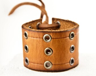 Upcycled Bracelet Reclaimed Jewelry Brown Leather