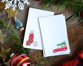 Holiday Gift tags, Mini Cards, Mini Note cards, 2.75 x 4.25 inches, Christmas, Vintage thermos, car with Christmas tree, Plaid