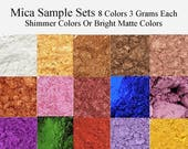 Mica Powders - Mica Pigment - Iron Oxide -Sample Set Soap Colors - Pearlized Mica -Blue, Brown, Green, Metallic, Pink, Purple, Red, Yellow