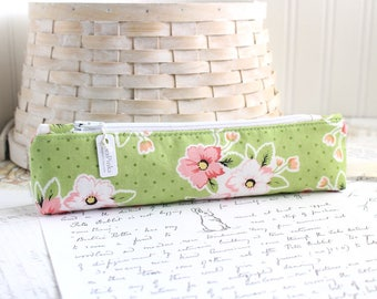 Small Pink and Green Pencil Pouch Skinny Pencil Case Cute Pencil Case Floral Purse Organizer