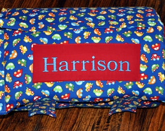 Nap Mat - Monogrammed Ready Set Go Cars Nap Mat with a Red Minky Dot Blanket