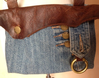 up cycled small denim and leather cross body purse