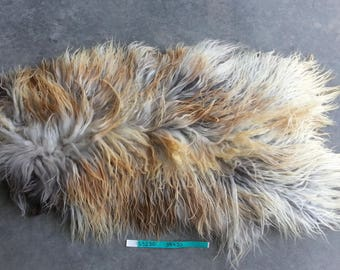 Icelandic Sheepskin- Natural Grey and Brown and SUPER Long Wooled Sheep Hide Lot No. 25230TURQ