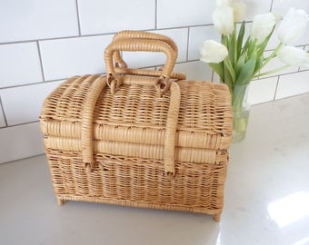 Basket Bag Vintage Woven Box Purse