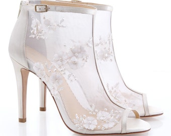 Couture Wedding Booties with pearl, silk and tulle petals flowers open toe bridal shoes Bella Belle 'Belle'