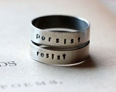 PERSIST RESIST Stacking Ring Set Sterling Silver #persist #resist Stacking Ring Unisex Mens Women's Ring She Persisted