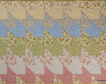 Straight As An Arrow Baby Quilt, Reversible Pink Green Blue and Yellow