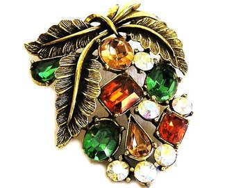 Coro Fall Colored Leaf Figural Brooch