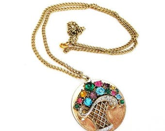 Coro Basket of Flowers Pendant Necklace