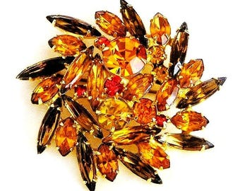Amber and Topaz Vintage Flower Brooch