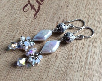 Creamy White Pearl with Swarovski Cluster and Hills Tribe Accent Bead Dangle Earring in Sterling Silver