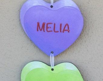 Valentine's Candy Heart Door Hanger, customizable