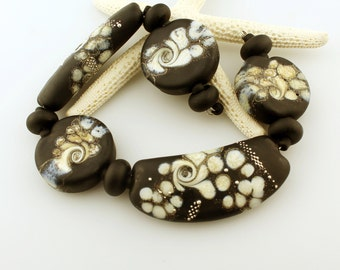 Lampwork Beads Set, Organic, Etched Matte Black, Gray, Ivory, Silver, Necklace Beads