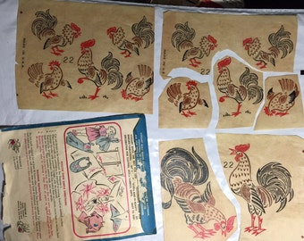 ROOSTER pillow case flowers tea towels tablecloth VOGART 22 transfer design hot iron transfers embroidery patterns vintage
