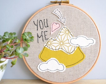 You Me And The Mountains Personalised Embroidery Hoop Picture