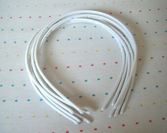 White Skinny Plastic Headbands, 4 mm Wide (6)
