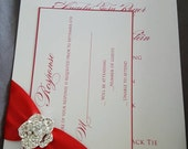 Custom listing for rosa, 40 invites, rsvp card and main env Red and White simple Elegant flower Buckle and Satin Ribbon Wedding Invitation;