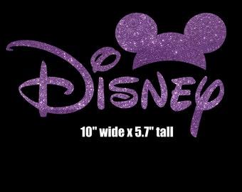 "10"" Womens Disney Mickey Mouse ears iron on glitter vinyl transfer DIY applique patch"