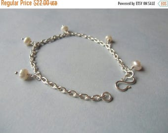 CLOSING SALE White freshwater pearls, wire wrapped, silver bracelet. 18 cm / 7'' in.