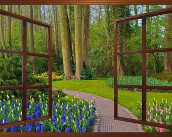 Wall mural window, self adhesive -Holland, open window view-3 sizes available-Spring Garden Path with brown frame - free US shipping