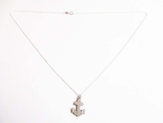 Silver anchor pendant: Simple hallmarked sterling silver nautical engraved anchor pendant necklace, ship's anchor pendant, silver pendant
