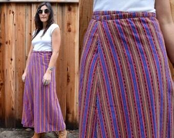 Vintage 70s Striped Hippie BOHO MAXI WRAP Skirt