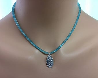 Apatite Rondelle Necklace with Artisan Sterling Silver Pendant