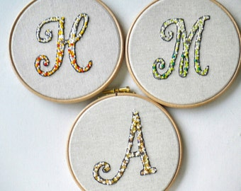 Handmade Framed Jewel Letters monogram alphabet with sequins, Frenchknots and beads. MADE TO ORDER