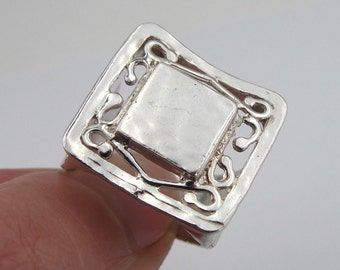 925 Silver Ring, Square filigree Ring, Silver Ring Size 8.5, Only silver, everyday, simple, birthday, gift, Bridesmaid Gift, Free Shipping