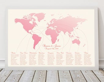 romantic destination wedding seating plan - printable diy file - world map seating, travel themed wedding seating chart, plane flight path