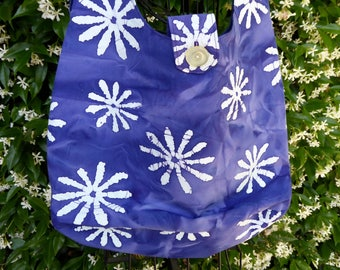 Batik tote bag, shoulder bag, large purse, purple
