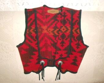 Red/Black Southwestern Woolrich Wool Vest w/Conchos - Size Men's Small