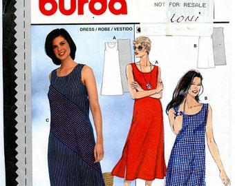Burda 3245 Women's Loose Fit Sleeveless Casual Spring Summer Dress Vintage UNCUT Sewing Pattern Sizes 10 12 14 16 18 20 Bust 33 to 41