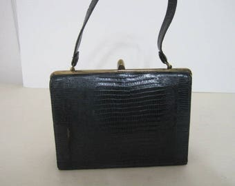 vintage 1950s Navy Lizard Kelly Handbag