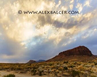 Photograph Print - Dramatic Sky Over Chisos Mountains, Big Bend National Park TX - dusk moon night sky sunset sun cactus desert clouds