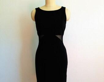 80s BODY CON black cut out mini dress size medium