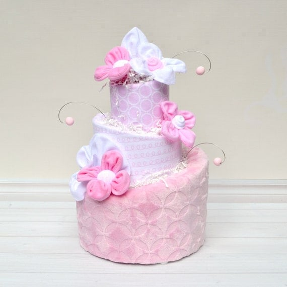 Pink Diaper Cake, White and Pink Baby Shower, Diaper Cake Decoration, It's a Girl Baby Shower, Baby Shower Centerpiece, Topsy Turvy Cake