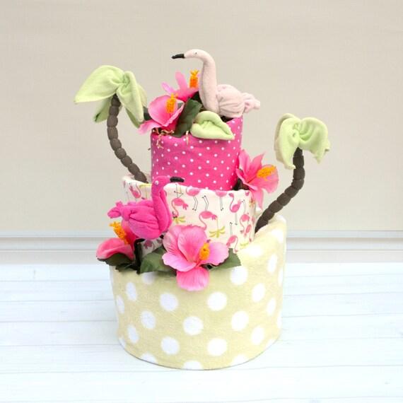 Flamingo Baby Shower, Flamingo Shower Decorations, Flamingo Diaper Cake, Let's Flamingle Party, Girl Diaper Cake, Green and Pink Baby Shower