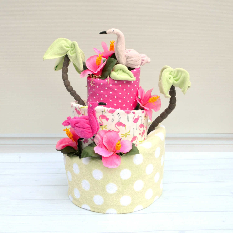 Flamingo Baby Shower, Flamingo Shower Decorations, Flamingo Diaper Cake,  Letu0027s Flamingle Party, Girl Diaper Cake, Green And Pink Baby Shower