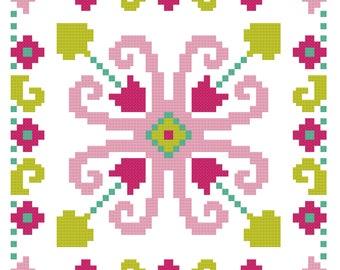 Geometric Flower  - Cross Stitch - Modern counted Cross Stitch - Stitchery designs - Needle Art Pattern -